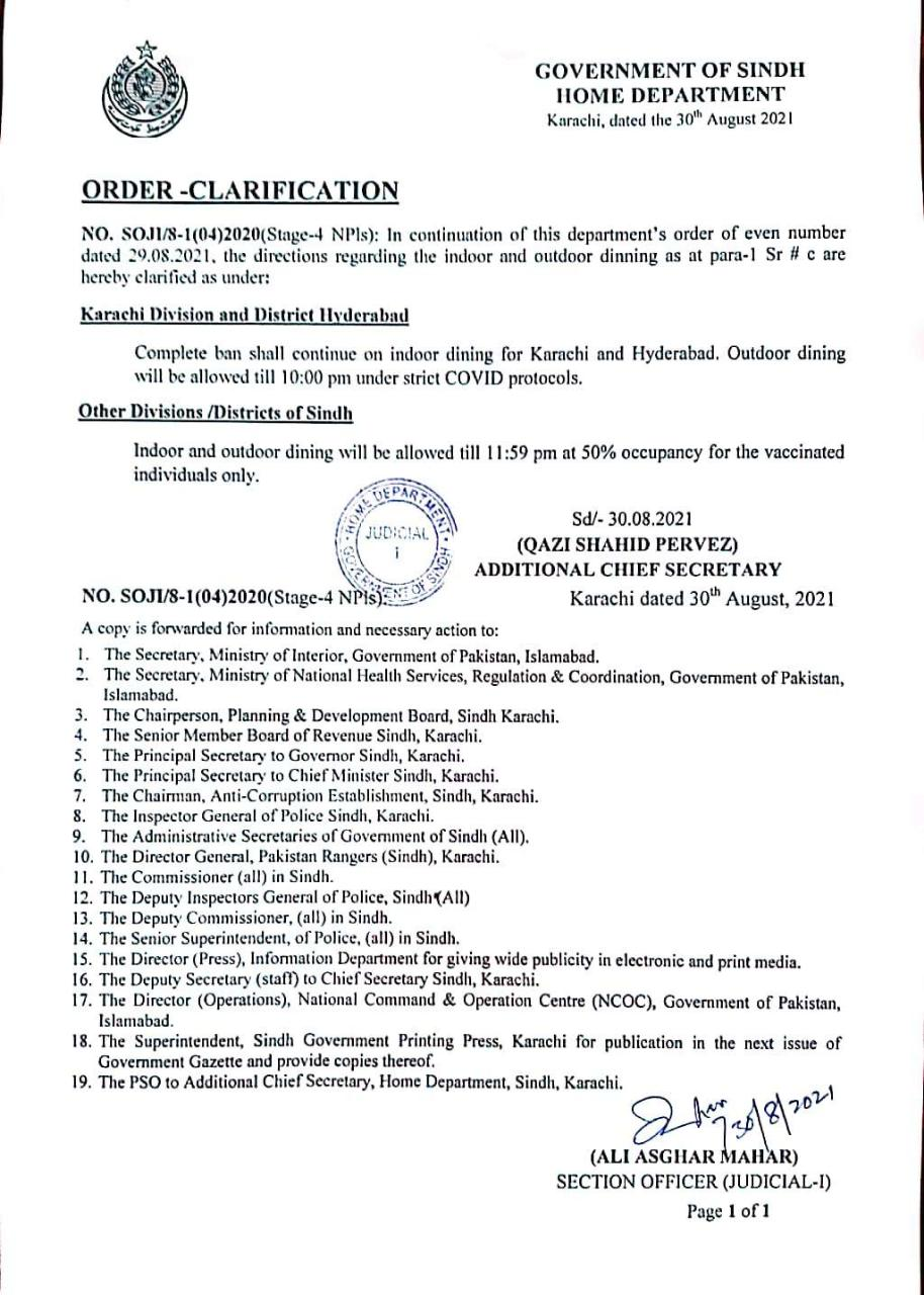 Except for Karachi and Hyderabad, indoor dining allowed across Sindh