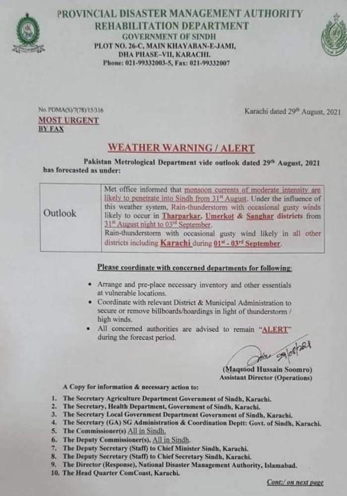 Karachi weather: City likely to receive rain, thunderstorm from Sept 1-3