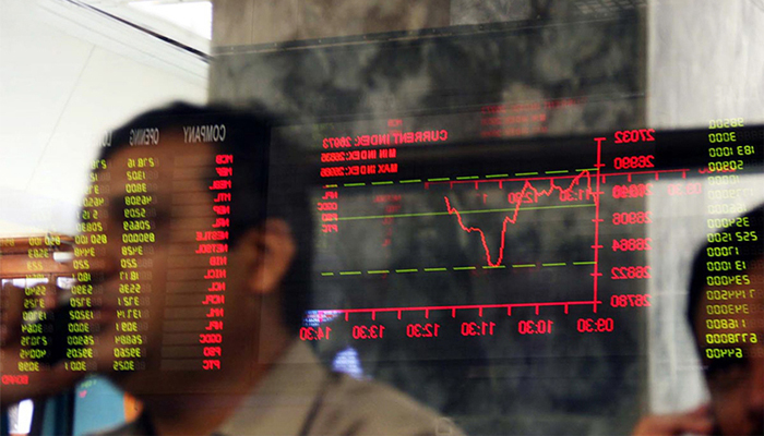 The benchmark KSE-100 index at the Pakistan Stock Exchange — AFP