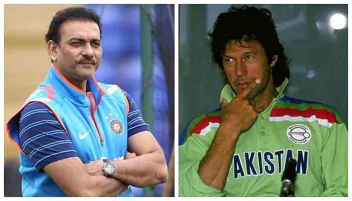 Indian cricket team's head coach Ravishankar Jayadritha Shastri (L) and former Pakistan captain Imran Khan (R). Photo: file