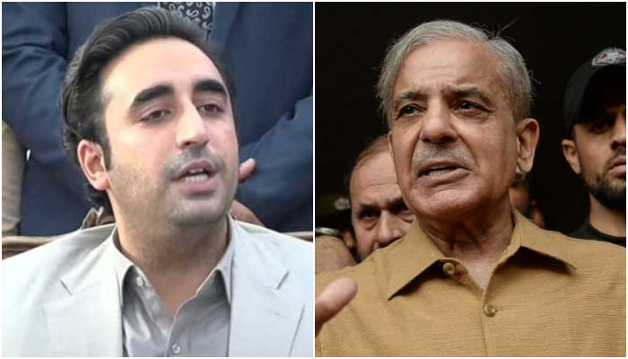 PPP Chairman Bilawal Bhutto Zardari (L) and Leader of the Opposition in the National Assembly Shahbaz Sharif. — APP/AFP file