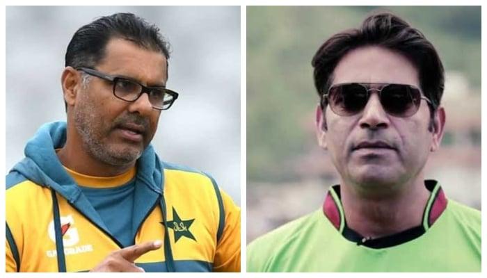 Former Pakistan fast bowlers Waqar Younis (L) and Aqib Jaed. Photo: File