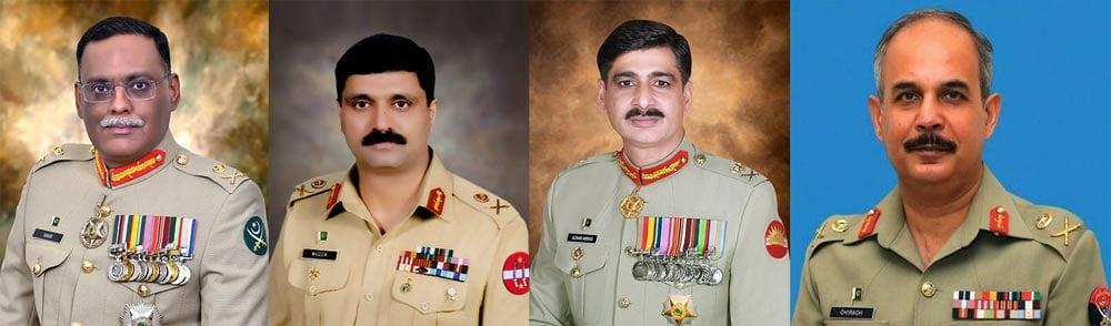 (L to R) Lieutenant General Sahir Shamshad Mirza, Lieutenant General Muhammad Waseem Ashraf, Lieutenant General Azhar Abbas, Lieutenant General Muhammad Chiragh Haider. — ISPR