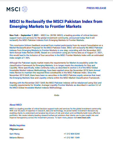 MSCI downgrades PSX from Emerging Markets to Frontier Markets