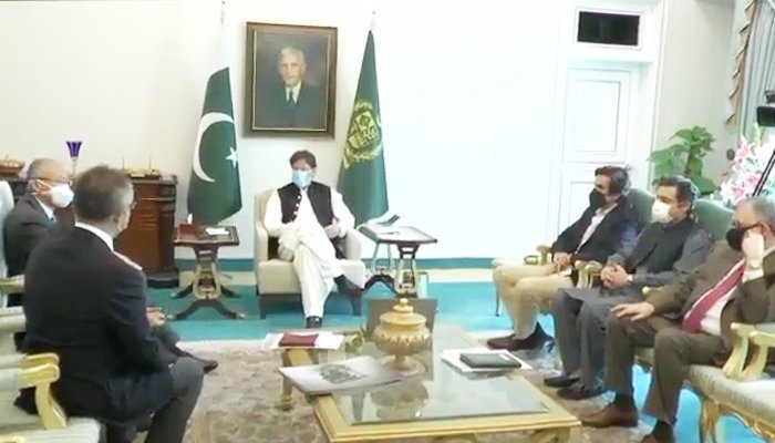 Prime Minister Imran Khan in a meeting with the delegation ofToyota Indus Motors Company. —Twitter/PakPMO