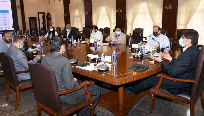 Chief Minister Sindh Syed Murad Ali Shah presides over a joint meeting of KMC and KE at CM House in Provincial capital. -Online