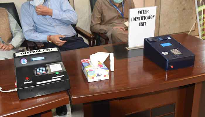 A file photo of an electronic voting machine installed at Parliament House.