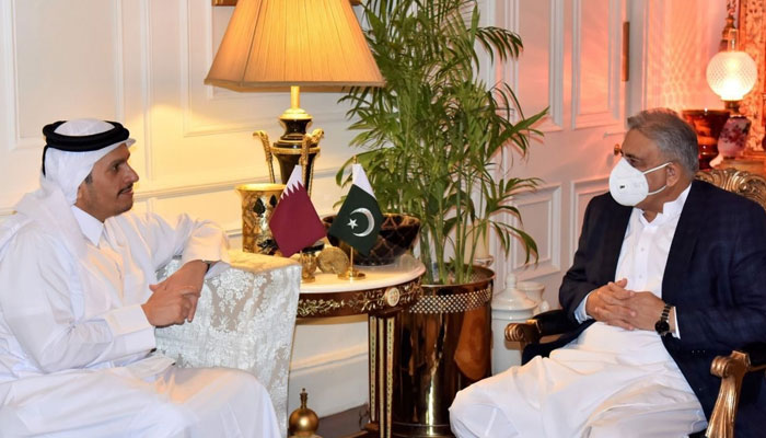 His Excellency, Mr Sheikh Mohammed bin Abdulrahman bin Jassim Al Thani, Deputy Prime Minister and Minister of Foreign Affairs of the state of Qatar called on Army Chief General Qamar Javed Bajwa in Rawalpindi. ISPR