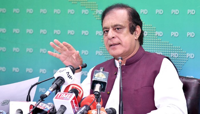 Minister for Science and Technology Shibli Faraz addresses a press conference in Islamabad on September 8, 2021. — PID/File