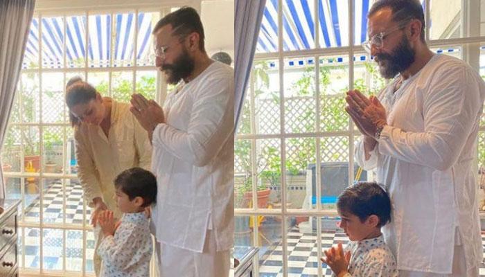 Kareena Kapoor, Saif Ali Khan celebrate Ganesh Chaturthi with Taimur: See Photos