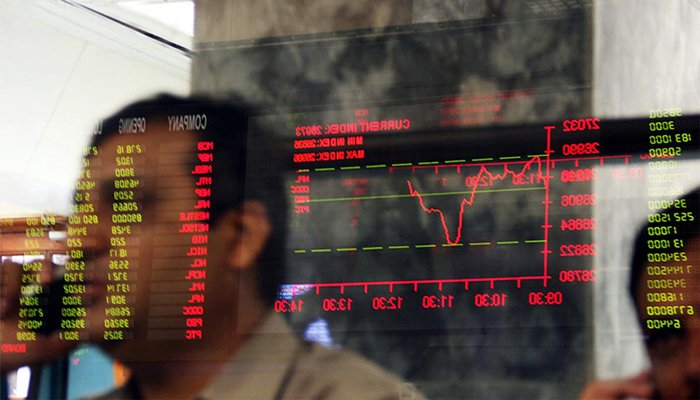 Digital board displaying share prices at the Pakistan Stock Exchange. — AFP/File
