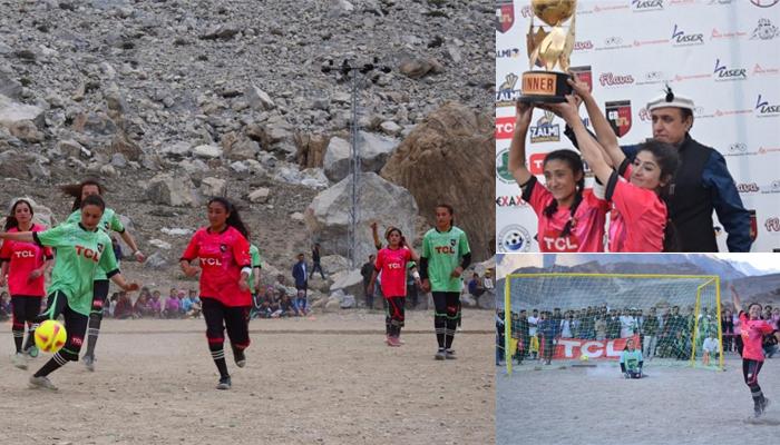 Women are seen playing football in Gilgit-Baltistan. — Geo News