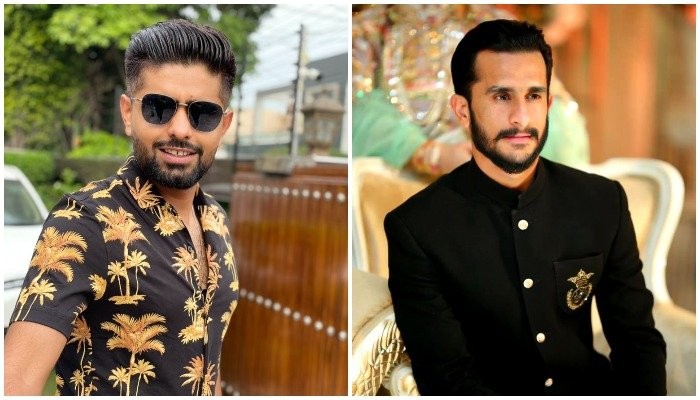 Babar Azam (L ) says Hassan Ali(R) was looking nice all dressed up. Pictures via Twitter @babarazam258@RealHa55an