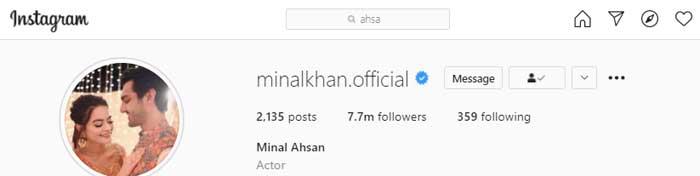 Minal Khan updates her Instagram profile a day after wedding