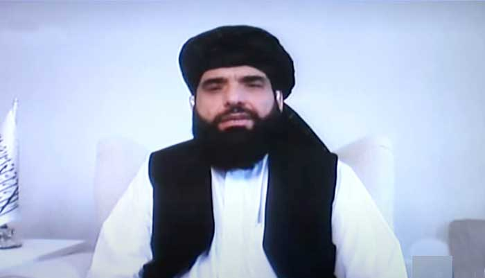 Taliban spokesman Suhail Shaheen during an interview with Geo News on programme Jirga, aired on September 11, 2021. — Geo News