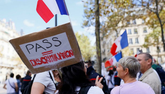 Medical staff protest in Paris against the compulsory Covid-19 vaccination and mandatory use of health passes. AFP