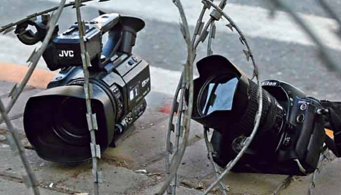 Camera placed beside barbed wires as a mark of protest. Photo: File