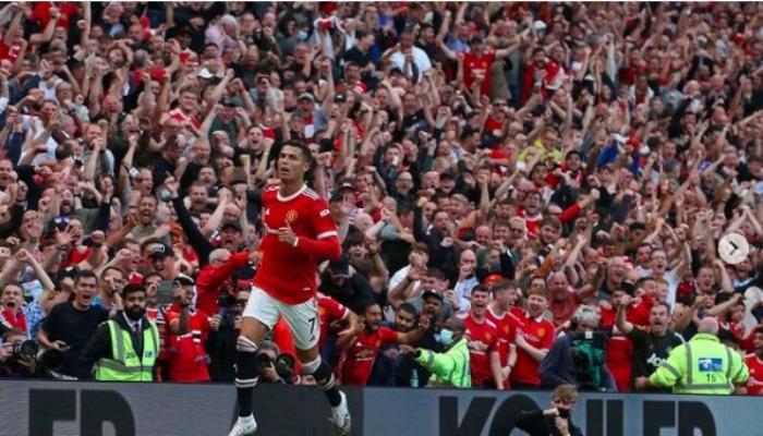 A jubilant Ronaldo celebrates after scoring against Newcastle on Saturday. Photo: Ronaldo Instagram