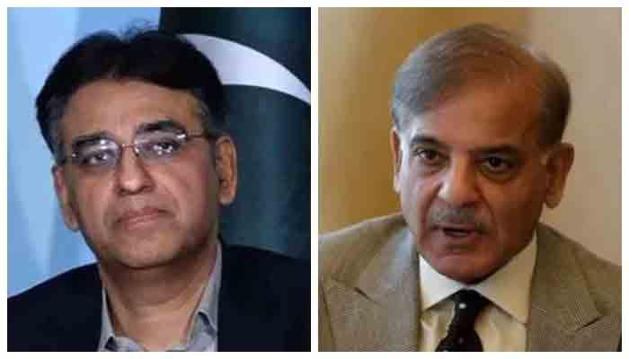 Federal Planning and Development Minister Asad Umar (L) and PML-N President Shehbaz Sharif (R). Photo: Geo.tv/ file
