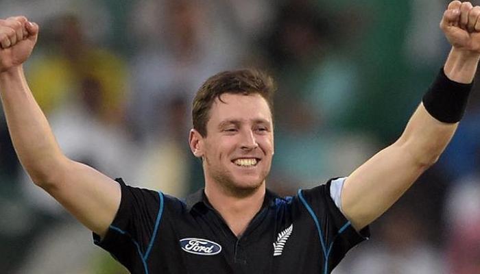 Matt Henry celebrates after dismissing a batsman. Photo: AFP