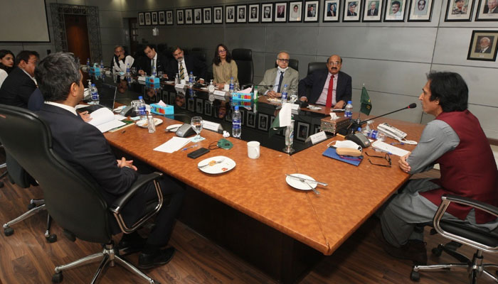 Ramiz Raja is presiding over a meeting after being elected as PCB chairman. -PCB