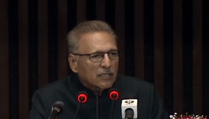 President of Pakistan Dr Arif Alvi addressing the joint session of the Parliament on Monday, September 13, 2021, at the Parliament House in Islamabad. Photo: Screengrab via Hum News Live
