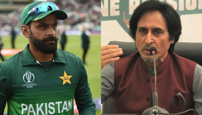 Pakistani all-rounder Mohammad Hafeez (left) and new chairman of the Pakistan Cricket Board (PCB)Ramiz Raja. — AFP/PCB/File