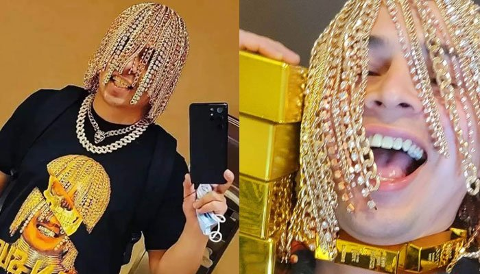 Mexican rapper Dan Sur creates buzz online as he adorns hair with gold chain and diamonds