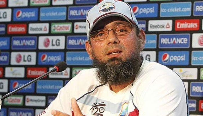 Pakistan cricket teams interim coach Saqlain Mushtaq at a press conference. Photo: File
