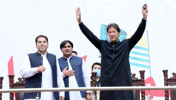 Prime Minister Imran Khan gestures during a rally in Azad Jammu and Kashmirs Tarar Khal, on July 23, 2021. Photo: Geo. tv/ file