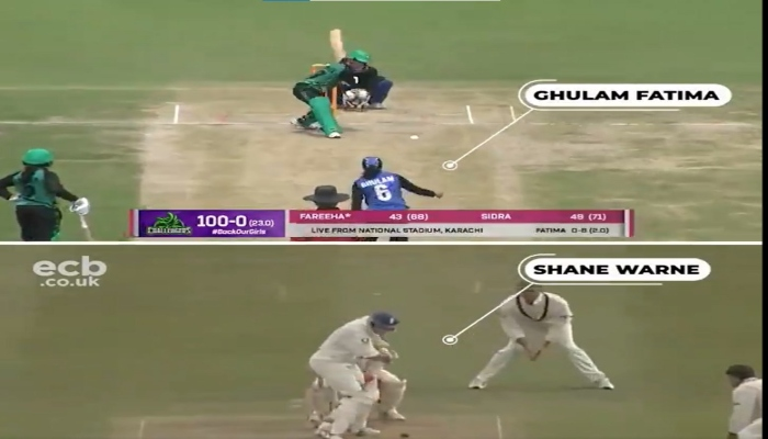 A comparison of the Shane Warne and Ghulam Fatima deliveries. Photo: Twitter screengrab
