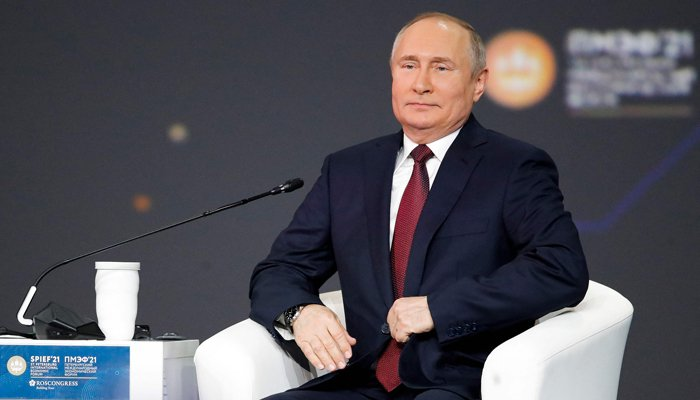 Russian President Vladimir Putin attends a plenary session of the St Petersburg International Economic Forum (SPIEF) in Saint Petersburg on June 4, 2021.Photo: AFP