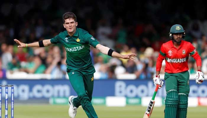 Shaheen Shah Afridi (L) celebrating after taking a Bangladesh wicket in this Reuters file photo.