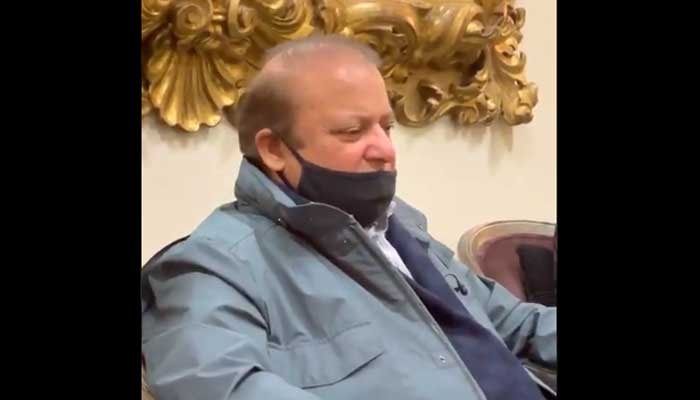 PML-N supremo and former prime minister Nawaz Sharif speaking to reporters in London, on September 14, 2021. — Screengrab from video by author