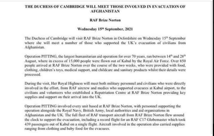 Le palais de Kensington publie une déclaration sur la visite de Kate Middletons à la station de la Royal Air Force