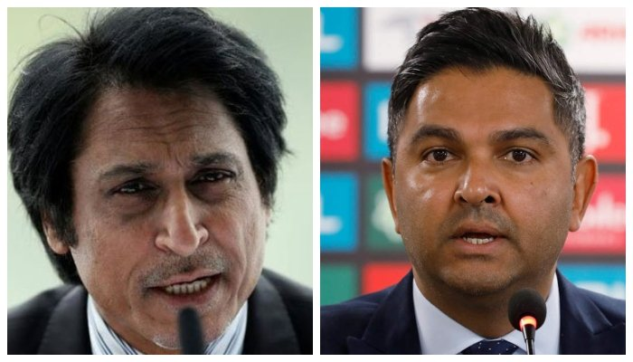 PCB Chairman Ramiz Raja (L) and Wasim Khan. Photo File