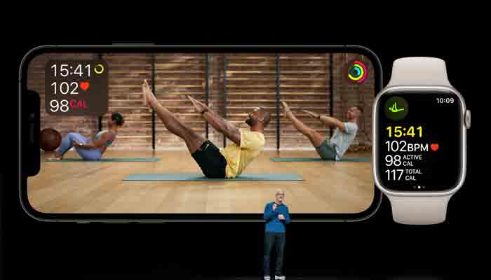 Apple CEO Tim Cook showcases the expansion of Apple Fitness+ during a special event at Apple Park in Cupertino, California broadcast September 14, 2021.