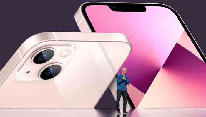 Apple CEO Tim Cook unveils the new iPhone 13 during a special event at Apple Park in Cupertino, California broadcast September 14, 2021. -REUTERS