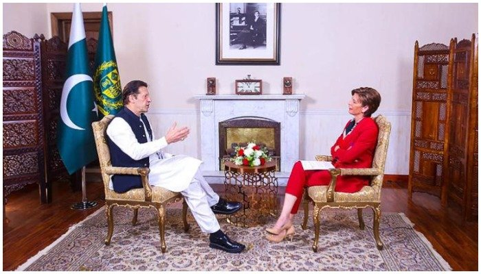 Prime Minister Imran Khan speaking to CNNs Becky Anderson at his Bani Gala residence in Islamabad. Photo credit: CNN
