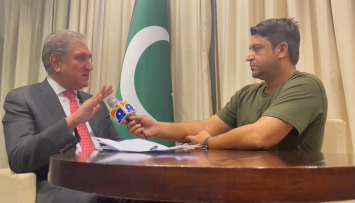 Foreign Minister Shah Mahmood Qureshi (left) speaks during an interview with Geo News at Dushanbe, on September 16, 2021. — Photo by author