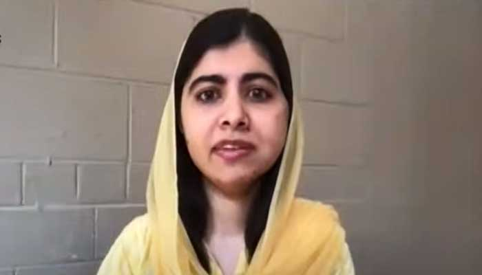 Nobel prize laureate and education activist Malala Yousufzai speaking to Geo News on programme Aaj Shahzeb Khanzada Kay Sath, on September 16, 2021. — Geo News