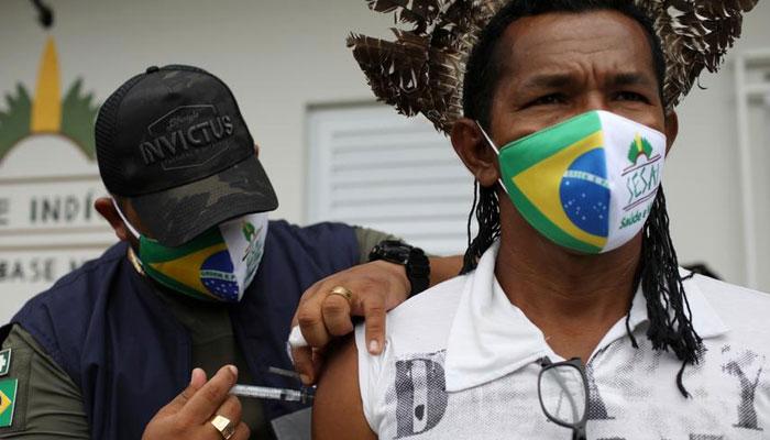 A Brazilian man getting Covid-19 shot. File photo