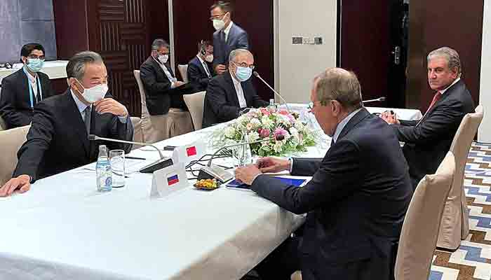 Foreign Minister Makhdoom Shah Mahmood Qureshi in a meeting with Russia's Foreign Minister Sergei Lavrov, China's Wang Yi, and Iran's Hussain Amir Abdollahian on the sidelines of the SCO Council of Heads of State meeting. -APP