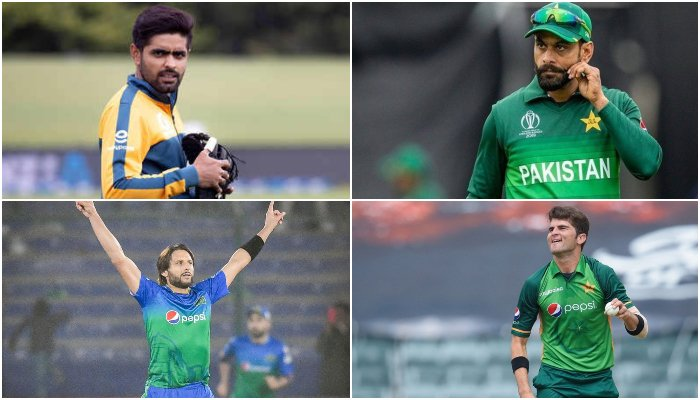 (Top L to R) Pakistan skipper Babar Azam and Mohammad Hafeez (bottom L to R) former captain Shahid Afridi and pacer Shaheen Shah Afridi. — AFP/Twitter/File