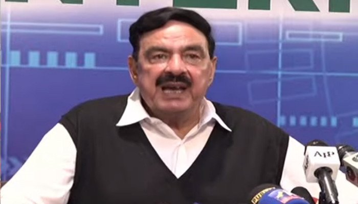 Federal Minister for Interior Sheikh Rasheedaddressing a press conferenceIslamabad after New Zealand cancelled their tour of Pakistan, on September 17, 2021. — YouTube/HumNewsLive