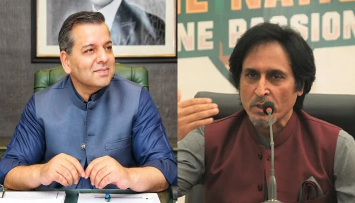 Punjab Education Minister Murad Raas (left) and Pakistan Cricket Board Chairman Ramiz Raja. — Twitter/PCB/File