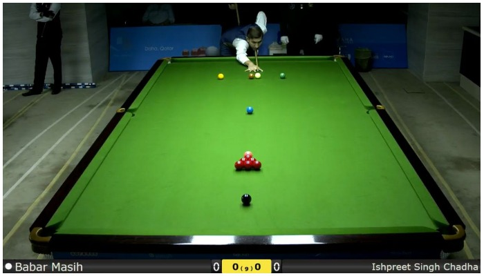 Pakistani snooker playerBabar Masih trying to pocket a ball at his first match of IBSF 6 Reds World Cup.