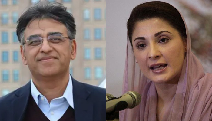 Federal Minister for Development, Planning and Special Initiatives Asad Umar (left) andPML-N Vice-President Maryam Nawaz. — PTI/Reuters/File