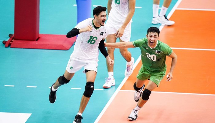 Pakistan volleyball team celebrating after defeatingSouth Koreain the ongoing 21st Asian Volleyball Championship. — Photo by author