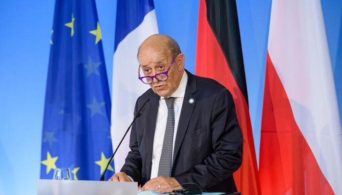 French Foreign Minister Jean-Yves Le Drian attends a joint news conference at the Bauhaus University in Weimar, Germany September 10, 2021. Photo: Reuters